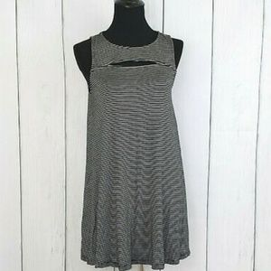 Black and white striped tank top dress with cutout